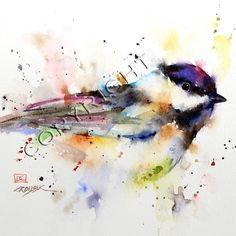 BLACK CAP limited edition chickadee watercolor print from an original bird painting by Dean Crouser (original has been sold). Lots of color and movement when I painted this little guy - hope you like it! This print is available in a variety of sizes from 8 x 12 up to 24 x 36. These