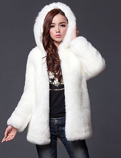 12b569e372 Women's Going out Simple / Casual Fall / Winter Plus Size Regular Fur Coat,  Solid Colored Hooded Long Sleeve Faux Fur White / Black XL / XXL / XXXL