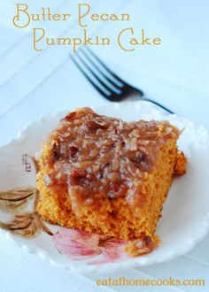 Butter Pecan Pumpkin Cake with Coconut Pecan Frosting www.eatathomecooks