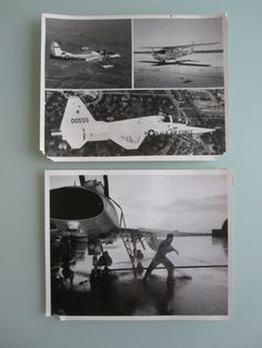 Two 8x10 Black and White US Air Force pictures from Vietnam. One has a three way split picture of airplanes. The other is really awesome with one pilot washing a plane and spraying another pilot with a hose.