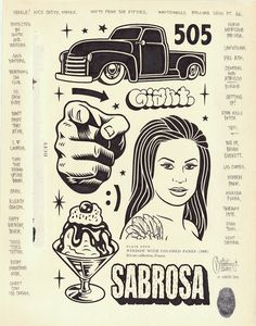 """""""Sabrosa"""", 11x14″, permanent marker and graphite on antique book paper, 2016."""