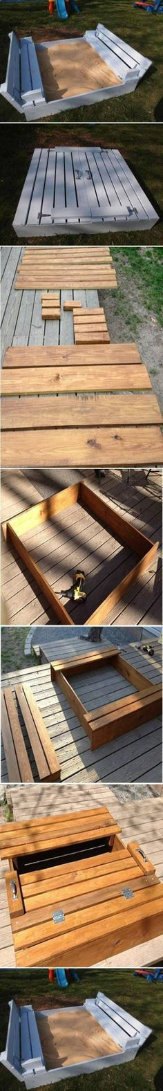 DIY sandbox with lid. This is about the only way I could allow a sand box in my yard. It is super cute. :)