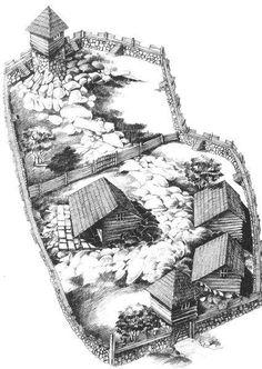 Illustrations of Dacia, Thracia & Phrygia Image Salvage) - Forum - DakkaDakka Medieval Houses, Medieval Life, Medieval Castle, Fantasy Castle, Fantasy Map, Rpg Map, Rural House, Fortification, Dark Ages