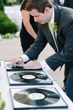 21 Unique Wedding Guest Book Ideas You'll Actually Want To Use #refinery29  http://www.refinery29.com/bridal-guide/27#slide-21  Find your favorite records (maybe even one that has your processional, recessional, and first dance songs on it), mount them in frames, and have your guests sign the vinyl with metallic sharpies.Next: Wedding Ideas For Every Season...