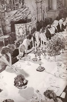 Left half of picture of Grace Vanderbilt at a small dinner for 40 in her 640 Fifth Avenue dining room in the early 1940s.