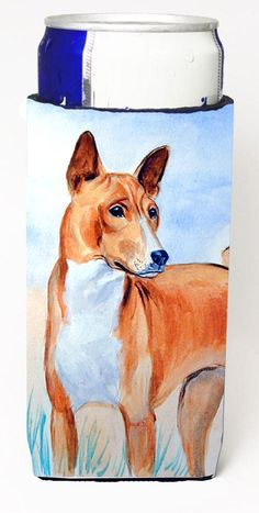 Red and White Basenji Ultra Beverage Insulators for slim cans 7223MUK