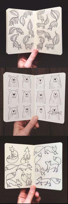 Illustration | 1canoe2 - doodle inspiration - skunks, bears, foxes