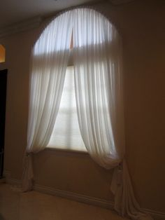 Drapes for Arched Windows Arched Window Coverings, Curtains For Arched Windows, Modern Curtains, Oval Windows, Bedroom Windows, Sheer Drapes, Drapes Curtains, White Curtains, Foyer Design