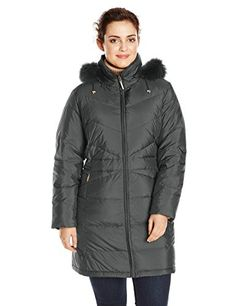 67a991b7838 Ellen Tracy Outerwear Women s Plus-Size Down Coat with Fur Trim Plus http