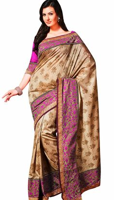 Traditional Indian Beige Row Silk Casual Saree!  Visit efello.com for more info.