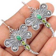 Dragonfly - Chrysoprase & Peridot 925 Silver Earrings Jewelry SE103630 | eBay