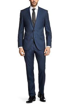 Slim-Fit Anzug ´Huge3/Genius2` aus Schurwolle, Blau