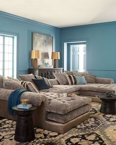 Oh my geez Old Hickory Tannery Galvin Sectional Sofa & Matching Items Living Room Color Schemes, Living Room Designs, Living Room Decor, Dining Room, Dining Sets, Sofa Design, Oversized Sectional Sofa, Sectional Sofas, Reclining Sectional
