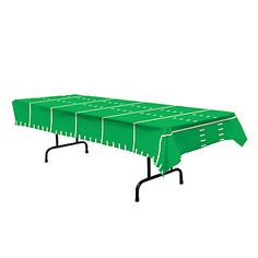 Our Football Plastic Tablecover has the fabulous green football field look to it with its white hash marks. Each plastic table cover measures 54 x 108 inches.
