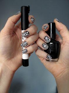 Fancy Nails!!:    Matesse Elite - Black    Sally Hansen Nail Art Pen - White    OPI - RapiDry Top Coat