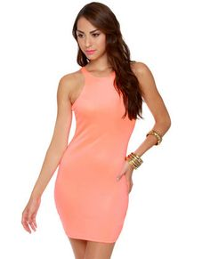 $38 Effects on the Beach Neon Coral Dress | from LuLus
