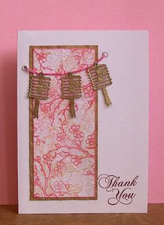 handmade thank you card ... Asian theme ... panel of pretty print paper ... luv the string with gold embossed vellum anterns ...