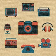 Vintage Media Icons  #GraphicRiver         Vintage media icons set vector illustration. Editable EPS and Render in JPG format     Created: 7November13 GraphicsFilesIncluded: JPGImage #VectorEPS Layered: No MinimumAdobeCSVersion: CS Tags: business #button #camera #concept #culture #devices #fashion #film #flat #headphones #icon #media #music #nostalgia #old #phone #photo #player #radio #record-player #recorder #retro #ribbon #set #sign #symbol #tape #texture #tv #vintage