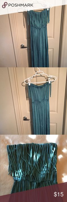 Fringe Dark Teal Maxi Dress Fringe Dark Teal Maxi Dress. Strapless maxi dress size - small. Super cute and comfortable. Pair with a statement necklace for a super cute outfit! Dresses Maxi