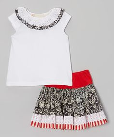 Take a look at this Black & Cream Damask Sugarplum Top & Skirt - Toddler & Girls by Free Planet on #zulily today!