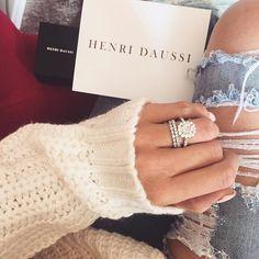 engagement ring with halo - cushion cut diamond - henri…