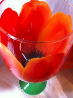 FLOWER GLASSES - Poppy Wine Glass - The Painted Flower (Powered by CubeCart) - hand painted flower wine glass