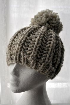 Knit Fisherman Ribbed Hipster Hat. Free Pattern