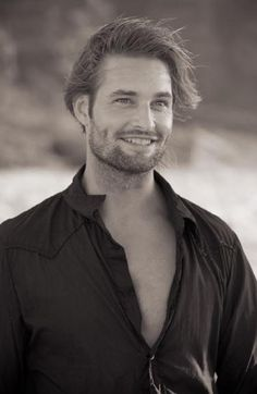 Josh Holloway. ❤❤❤❤❤❤. He is too sexy for his own good lol, male actor, cute dimples, eyecandy, long hair style, steaming hot, portrait, photo b/w.