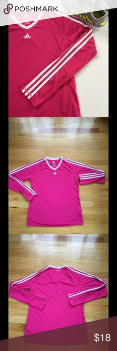 NWOT Adidas Workout Shirt NWOT Color is pink with white stripes. ⭐Make an offer using the offer button or take advantage of my bundle discount! Trades Adidas Tops Tees - Long Sleeve