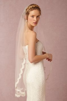 Scalloped Fingertip Veil in Bride Veils & Headpieces at BHLDN