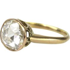 18K Rose Cut Diamond Solitaire Ring