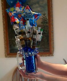 Mini liquor bottle and cigar bouquet in a beer glass for a guys bday 21st Birthday Cake For Guys, 21st Birthday Basket, 21st Bday Ideas, Birthday Gift Baskets, 21st Birthday Gifts, 21 Birthday, Birthday Ideas, Alcohol Gift Baskets, Liquor Gift Baskets