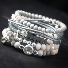 Trendy sieraden met grijstinten van trendy top facet kralen, houten kralen en DQ…
