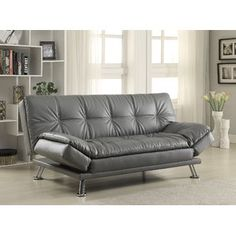 Coaster Futon Sofa Bed With Removable Arm Rests Brown Vinyl Kitchen Dining Home Sweet Dreams Pinterest Metal And