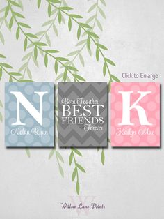 Personalized Twins Nursery Decor with initials, Twin Boy and Girl baby gift, Chevron and Polka dots, Gray, Pink and Blue Nursery on Etsy, $43.00