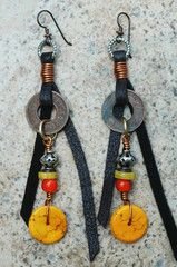 Yellow, Orange, Leather and Brass Coin Dangle Earrings | XO Gallery