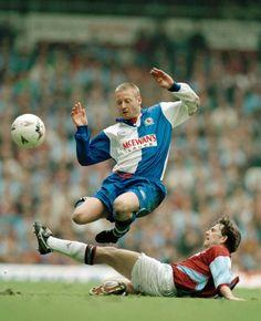 West Ham V Blackburn in April 1995 at Upton Park. Matty Holmes tackles David Batty
