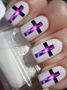 Purple crosses and white background nails