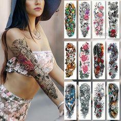 Large Arm sleeve Tattoo Waterproof temporary tattoo Sticker Skull Angel rose lotus Men Full Flower Tatoo Body Art tattoo girl - Features: use in the skin, metal ceramics, glass surface. Realistic Tattoo Sleeve, Fake Tattoo Sleeves, Arm Sleeve Tattoos, Tattoo Sleeve Designs, Wrist Tattoos, Body Art Tattoos, Tattoo Drawings, Tattoo Arm, Shoulder Tattoos