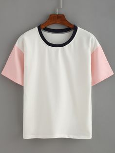 T-shirt col rond manche courte-French SheIn(Sheinside)
