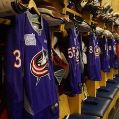 Jerseys hang prior to the Columbus Blue Jackets #HockeyFightsCancer night.
