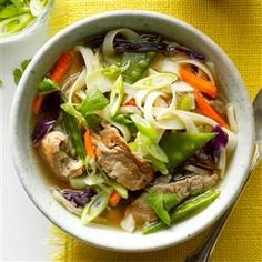 Asian Long Noodle Soup Recipe -This flavorful soup is perfect when you want something warm and filling in a flash. If you can't find long noodles, angel hair pasta is a good substitute. —Carol Emerson, Aransasqueen Pass, Texas