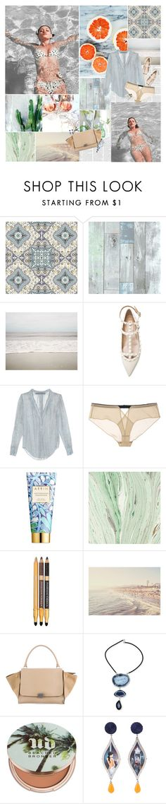 """""""Un ocean bleu"""" by floralbeauteous ❤ liked on Polyvore featuring American Eagle Outfitters, Raquel Allegra, Jean Yu, AERIN, Physicians Formula, CÉLINE, NOVICA, Urban Decay, Anna e Alex and Bella Freud"""
