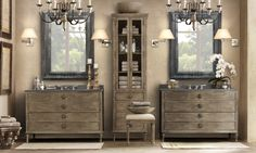 This is my dream bathroom re-do for the master bath....so different and fresh. LOVE Restoration Hardware!!!