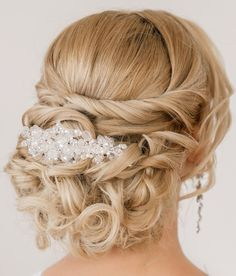 classic updo twist wedding hairstyles with headpiece