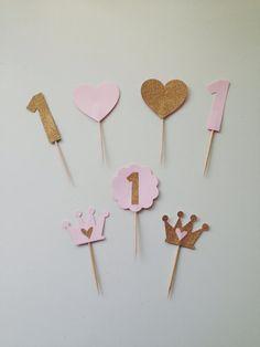 Brillo oro y corona de color rosa con corazón Cupcake Topper