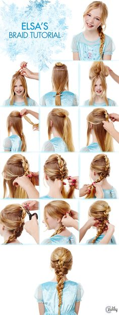 Elsa Braid Tutorial Disney Frozen Hair Tutorials Elsa and Anna Hacks. Step by Step Tutorials for Side Braids Coronation Buns and Royal Updos on Frugal Coupon Living. The post Frozen Hair Tutorials Elsa and Anna Hacks appeared first on Hair Styles. Girls School Hairstyles, Little Girl Hairstyles, Pretty Hairstyles, Braided Hairstyles, Hairstyles Haircuts, Short Haircuts, Frozen Hair Tutorial, Frozen Hairstyles, Disney Hairstyles
