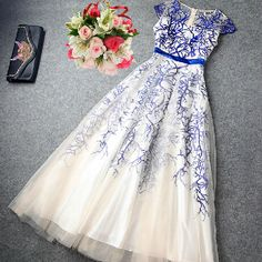 Slim embroidered short-sleeved dress #101917AD