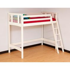 Canwood Base Camp Loft Bed with Angled Ladder, White for Bailey
