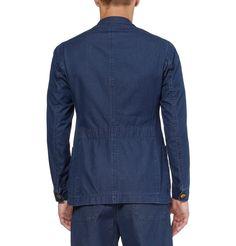 Oliver Spencer Blue Washed-Denim Chambray Suit Jacket in Blue for Men (denim) | Lyst